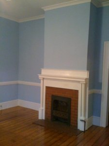 "Dining room: ""Panorama Blue."""