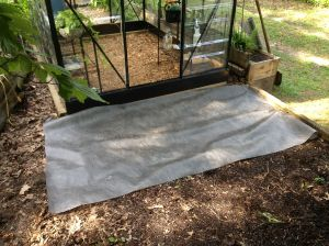 Applying landscape cloth to the shade garden area.