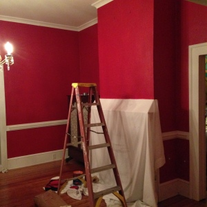 Painting a third coat. It's noticeably deeper.