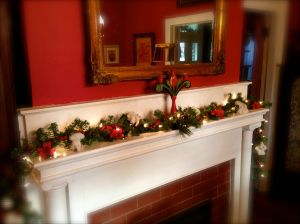 Dining room mantle.