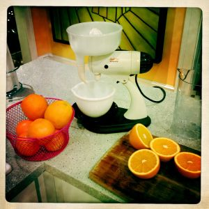 Making orange juice.