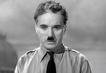 "Charlie Chaplin in ""The Great Dictator."""