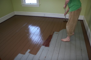 Floor being painted brown. (found on floorplanideas.net)