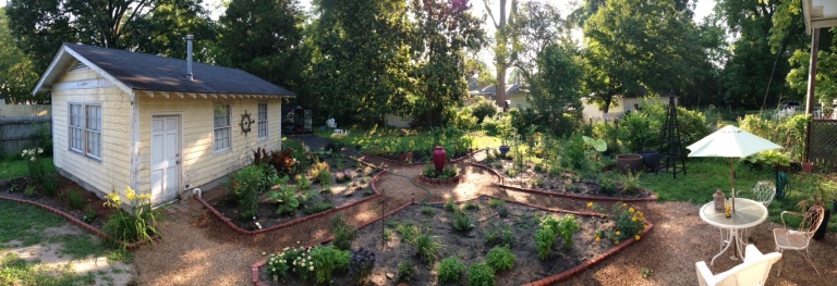 Panoramic of the potager, June 2015.