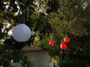 Solar powered Chinese lanterns.