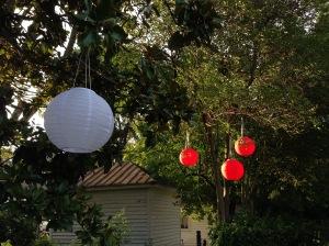 Solar powered Chinese lanterns.