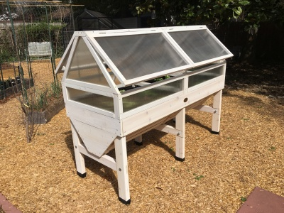 Completed VegTrug with a cold frame kit.